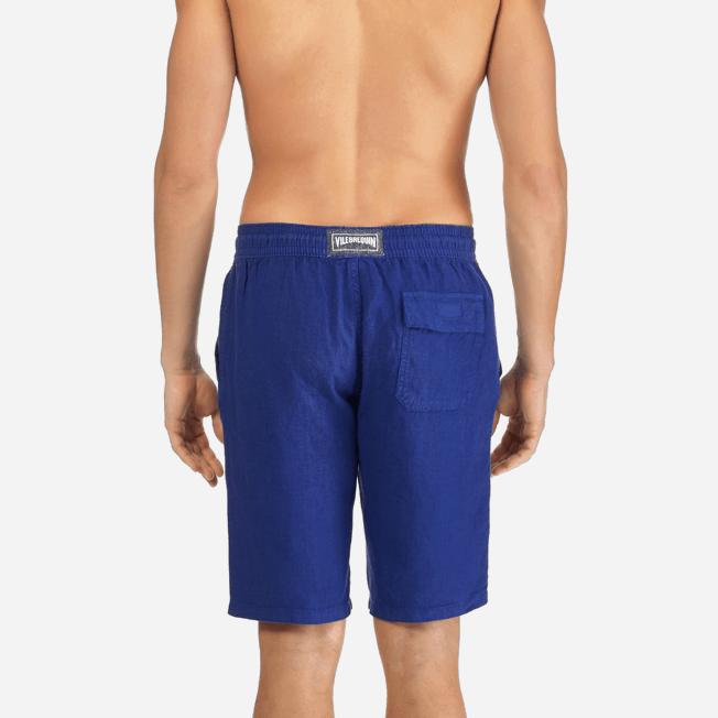 Vilebrequin - Bermudas cortas de lino con estampado liso y bolsillos italianos para hombre - 6