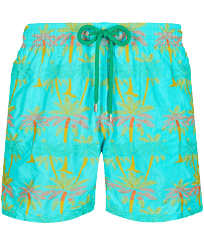 Men Classic Embroidered - Men Swim Trunks Embroidered 1990 Striped Palms - Limited Edition, Lazulii blue front
