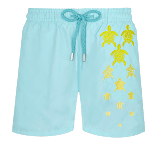Men Classic Embroidered - Men Swim Trunks Placed Embroidery Infinite Turtles, Acqua front