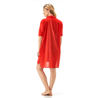 Women Dresses Solid - Solid dress shirt, Poppy red supp5