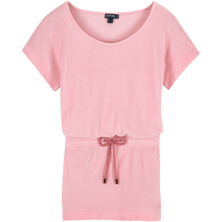 Women Dresses Solid - Solid Terry Tee Shirt dress, Peony front