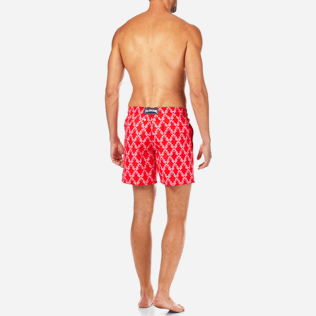 Men Classic / Moorea Printed - Valentine Day Hippocampes Swim shorts, Poppy red backworn