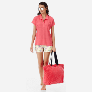 Women Others Solid - Women Linen Polo Shirt Solid, Hibiscus supp2