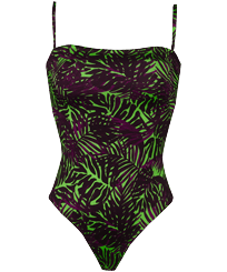 Women One piece Printed - Women Bustier One-piece Swimsuit Madrague, Grass green front
