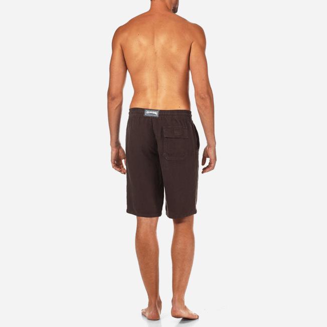 Vilebrequin - Bermudas cortas de lino con estampado liso y bolsillos italianos para hombre - 4