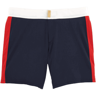 Men Fitted Solid - Men Fitted Stretch Swimwear Tricolor, Navy front