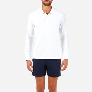 Men Others Solid - Solid Long sleeves Cotton pique polo, White supp1