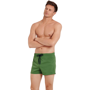 Men Short classic Solid - Men Swim Trunks Short and Fitted Stretch Solid, Cactus frontworn