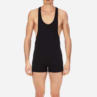 Men One piece Solid - Men One Piece Swimtrunks French Riviera, Black supp1