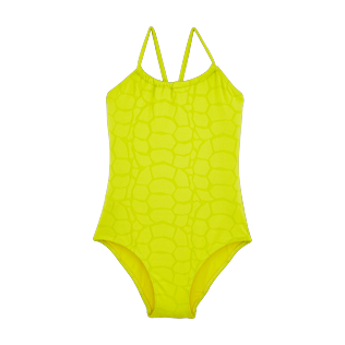Girls Others Solid - Girls One Piece Swimsuit Turtles Scales, Chartreuse front