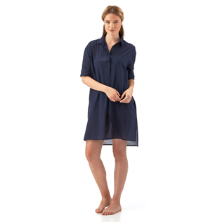Women Shirts Solid - Long linen shirt, Navy supp6