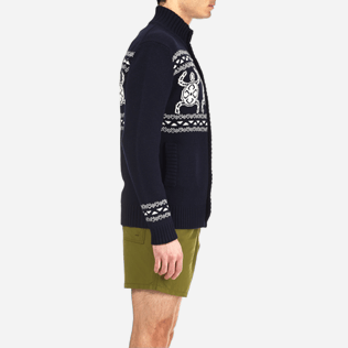 Men Sweaters Printed - Italian merino/cashmere sweater , Navy supp3