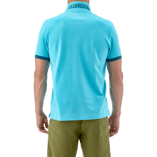 Men Polos Solid - Solid Cotton pique polo, Azure supp3