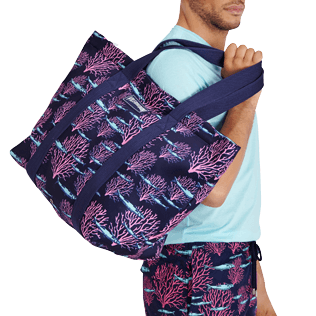 Others Printed - Large Beach Bag Coral & Fish, Navy supp3