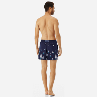 Men Embroidered Embroidered - Men Embroidered swimwear Porto Cervo - Limited Edition, Navy backworn