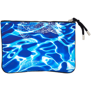 Bags Printed - Zipped Beach pouch Splash, Neptune blue back