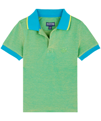 Boys Others Solid - Boys Changing Cotton Pique Polo Shirt Solid, Light azure front