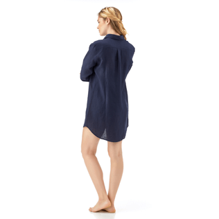 Women Shirts Solid - Long linen shirt, Navy backworn