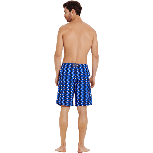 Men Long classic Printed - Men Swimtrunks Long Re Mi Fa Soles, Royal blue backworn