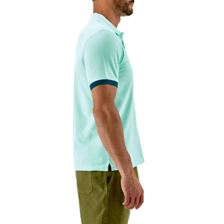 Men Others Solid - Cotton pique polo, Lagoon supp3