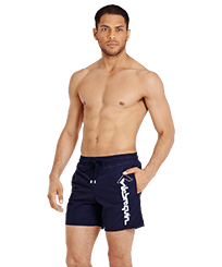 Men Classic Embroidered - Men Swimwear Placed Embroidery Le Vilebrequin, Navy frontworn