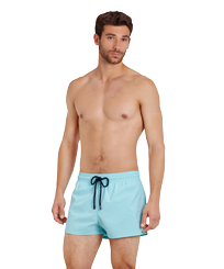 Men Short classic Solid - Men Swimwear Short and Fitted Stretch Solid, Lagoon frontworn