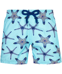 Boys Others Printed - Boys Ultra-light and packable Swim Trunks Starfish Dance, Lazulii blue front