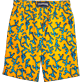 Men Long classic Printed - Danse du Feu Long Cut Swim shorts, Turmeric back