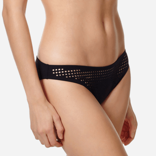 Women Classic brief Solid - Women midi brief bikini Bottom Pois Lazer Cut, Black supp1