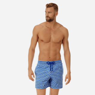 Men Ultra-light classique Printed - Men Ultra-Light and packable Swimwear Istanbul, Sea blue frontworn