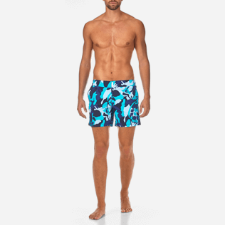 Men Flat belts Printed - Camouflage Turtles Fitted cut Swim shorts, Azure frontworn