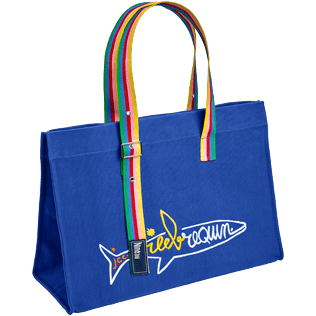 Others Embroidered - Beach bag multicolor Rainbow handles - Vilebrequin x JCC+ - Limited Edition, Sea blue front