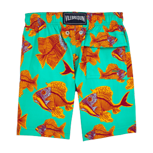 Boys Classic / Moorea Printed - Prehistoric Fish Superflex Swim Shorts, Veronese green back