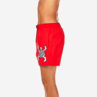 Men Classic / Moorea Embroidered - Primitive Turtle Placed Embroidery Swim shorts, Poppy red supp3