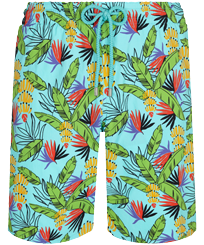 Men Long classic Printed - Men Long Stretch Swim Trunks Go Bananas, Lazulii blue front