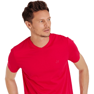 Men Others Solid - Men Mercerized Cotton T-Shirt V-neck Solid, Gooseberry red supp1