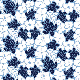 Men Swimwear Tortues Hawai - WEB EXCLUSIVE, Sky blue pattern