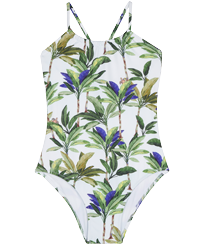 Girls Others Printed - Girls One-piece Swimsuit Palms, White front
