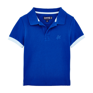 Boys Polos Solid - Cotton pique polo, Celestial front
