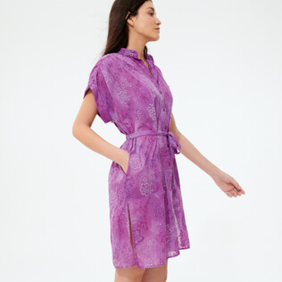 Women Others Embroidered - Women Silk Cotton Shirt Dress Embroidery, Orchid supp2