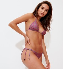 Women Classic brief Printed - Women Triangle Bikini Bottom Indian Ceramic, Pink berries frontworn