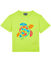 Boys Others Printed - Boys Organic Cotton T-shirt Tortue Multicolore, Lemongrass front