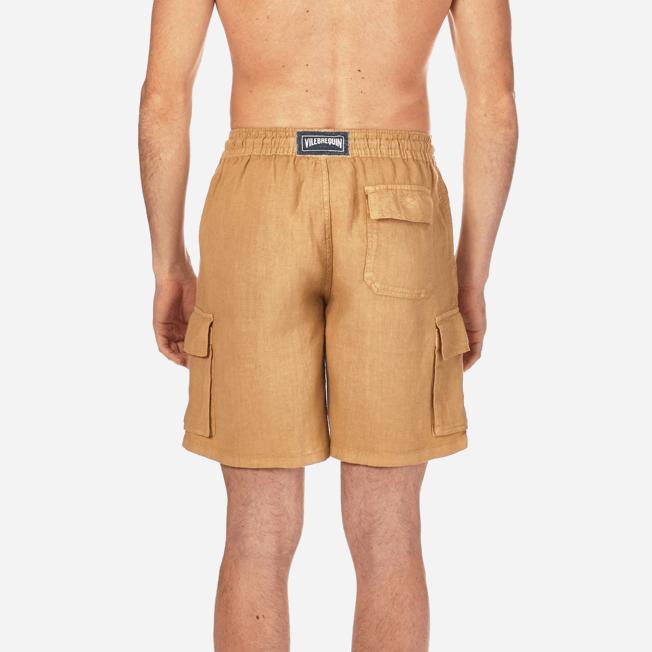 Vilebrequin - Bermudas lisas de lino con bolsillos de fuelle - 6
