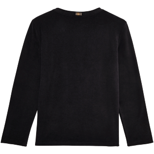 Women 009 Solid - Women Terry Cloth Cardigan Sweaters Solid, Black back