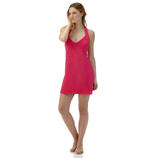 Women Others Solid - Women Short Halter Terry Cloth Dress Solid, Shocking pink supp1
