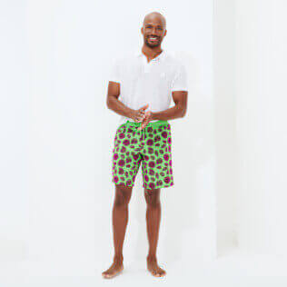 Men Long classic Printed - Men Long Ultra-light and packable Swimwear Shell Game Flocked, Neon green supp3