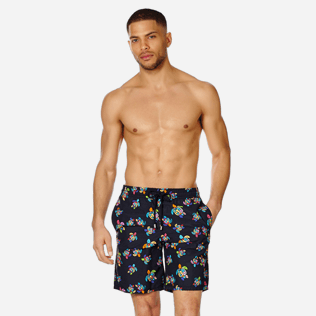 Men Long classic Printed - Men Swim Trunks Long Over the Rainbow Turtles, Black frontworn
