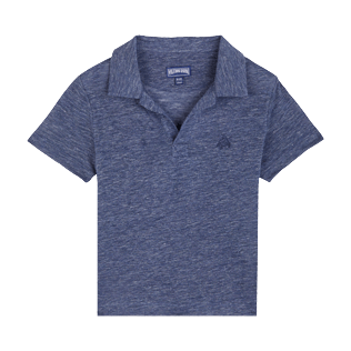 Boys Others Solid - Linen Boys Polo Shirt Solid, Dark heather blue front