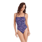 Women One piece Printed - Women Bustier One piece Swimsuit Coral & Fish, Navy frontworn