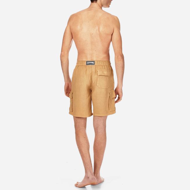 Vilebrequin - Bermudas lisas de lino con bolsillos de fuelle - 4